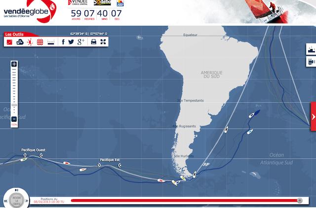 Pierwszy jacht już minął szerokość Buenos Aires, ostatni znajduje się jeszcze 2600 Mm przed Hornem. / www.vendeeglobe.org