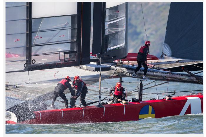 Testy AC82 Artemis Racing na Zatoce San Francisco, kwiecień 2013. / Fot. Sander van der Borch / Artemis Racing