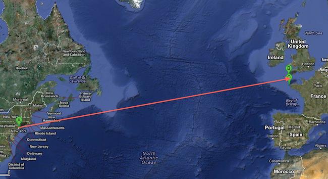 fot. Google Maps. A: Nowy Jork, B: Lizard Point, C: Wyspa Ushant /Quessant