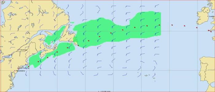 Mapa prognozy pogody – czerwone kropki oznaczają prawdopodobną pozycję jachtu co 12 godzin od startu do mety. Zielony obszar to rejon wiatru stałego o prędkości od 19 do 28 węzłów./ Rys. NavSi