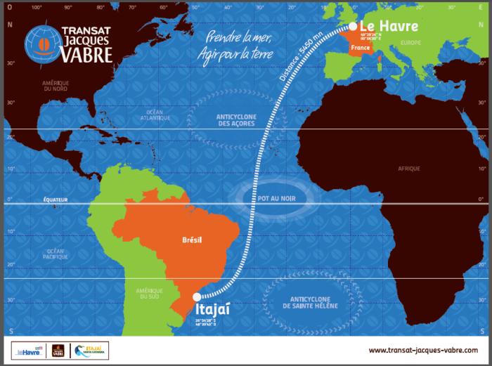 Mapa trasy dwudziestych regat TJV: z hawru do Itajai. / rys. Transat Jacques Vabre