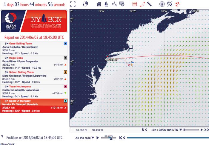 Widoczny na mapie niż oraz pozycje jachtów / http://oceanmasters-nytobcn.geovoile.com/2014/app/flash/