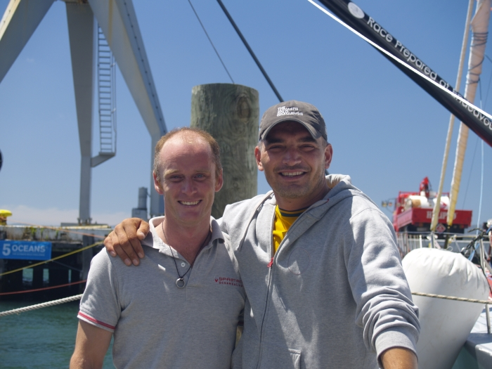 Chris Stanmore-Major and Gutek during Velux 5 Oceans stopover in Wellington, NZ, 2011 / fot. Milka Jung