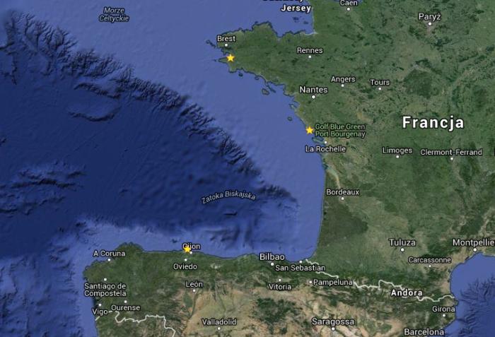 Trasa regat Transgascogne - z Francji do Hiszpanii przez Biskaje i z powrotem / GoogleMaps
