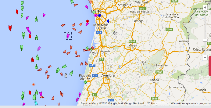 Tu już widać, że Radek do portu w Porto wejść nie zamierza. Uff. / Marine Traffic