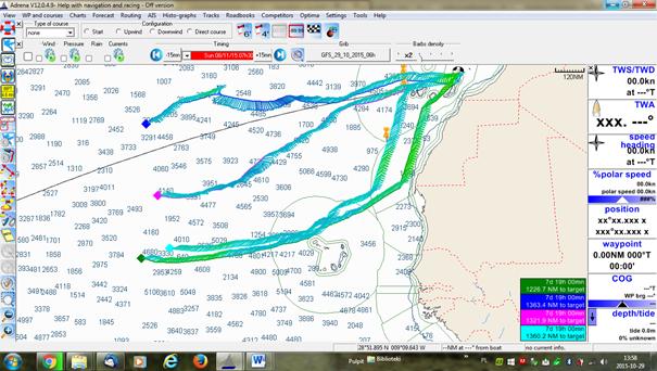 Warianty trasy rozważane przez Radka w konsultacji ze znajomymi meteorologami.