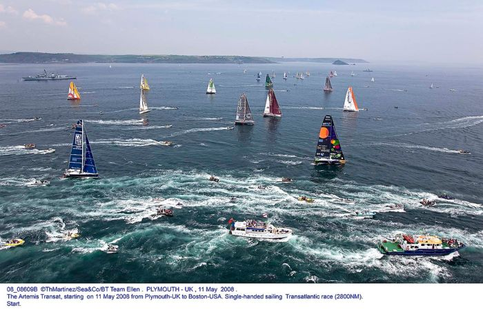 ©ThMartinez/Sea&Co/BT Team Ellen . PLYMOUTH - UK , 11 May 2008 . The Artemis Transat, starting on 11 May 2008 from Plymouth-UK to Boston-USA. Single-handed sailing Transatlantic race (2800NM). Start.