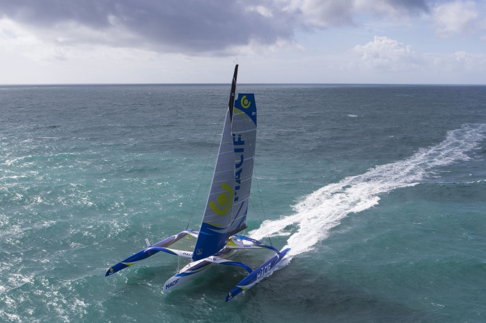 Aerial image bank of the Maxi Trimaran Ultim MACIF, skipper Francois Gabart, off Les Glenans, brittany, west France, on march 29, 2016 - Photo Jean Marie Liot / DPPI / MACIF