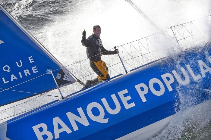 150416- Entrainement en solo au large Lorient pour le monocoque 60 pieds IMOCA Banque Populaire VIII, Skipper, Armel Le Cléac'h.