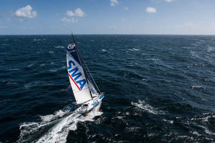1st sailing aerial images of the new IMOCA SMA, skipper Paul Meilhat, training off Groix and Belle Ile with coach Michel Desjoyeaux, Mer Agitee, on may 06, 2015 - Photo Jean Marie Liot / DPPI / SMA