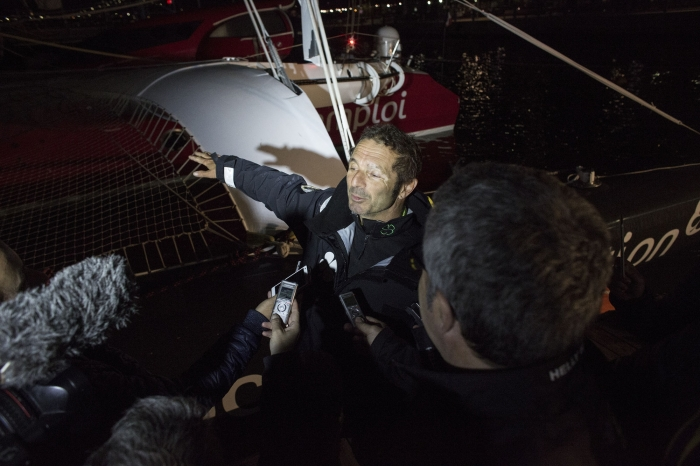 NEW YORK, NY - MAY 11: Yves Le Blevec onboard his Actual 'Ultim' trimaran, shown here celebrating after finishing 3rd in the solo transatlantic yacht race. The race started in Plymouth, UK on Monday May 3rd. May 11, 2016 on the Hudson River in New York City. (Photo by Lloyd Images)