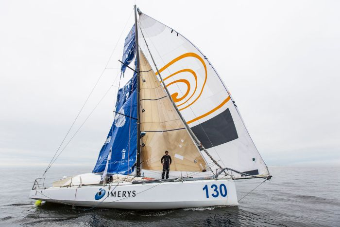 NEW YORK, NY - MAY 21: At 15:01:05 BST on Saturday, May 21, British skipper Phil Sharp racing Imerys, beat the odds to finish The Transat bakerly 2016 on the Class40 podium in third. Sharp covered a total of 3798nm of the Atlantic, with an average speed of 8.32 knots to finish third in the Class40 division. During his 19 days, 31 minutes and five seconds at sea, Sharp was subject to time penalties, burst spinnakers, ripped sails, power loss, the boat taking on water and finally a giant gaping hole in his mainsail, but the skipper dealt with every challenge the race had to throw at him - determined to make it to New York.  (Photo by Lloyd Images / Amory Ross)