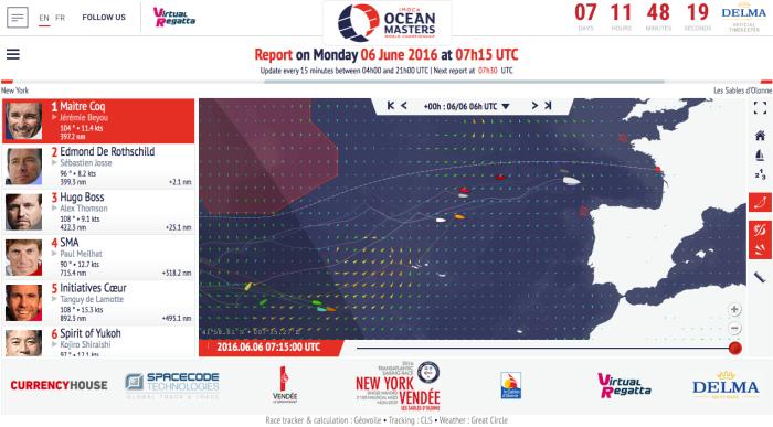 Sytuacja na oceanie w poniedziałek, 6.06, rano. / http://www.ny-vendee.com/en/race-tracker/