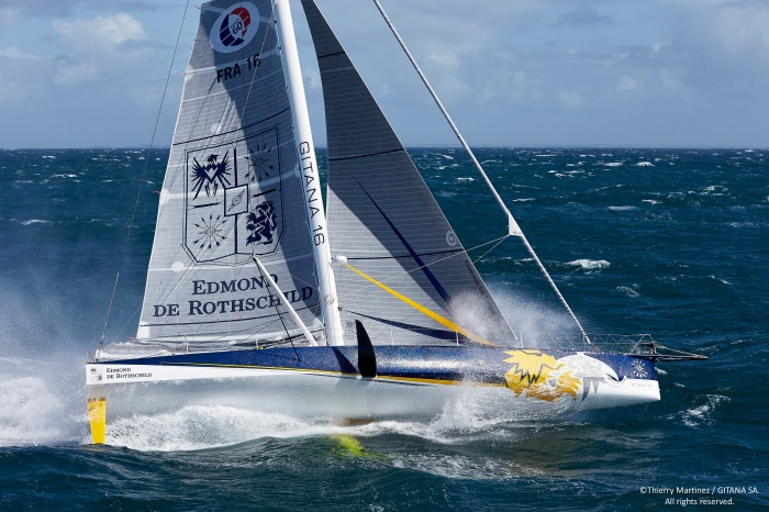 "15_65628 © Th.Martinez / GITANA SA. LORIENT - FRANCE . 24 Août 2015. First sail of new IMOCA ""MONO60 EDMOND DE ROTHSCHILD"" , skipper Sébastien Josse (FRA), co-skipper Charles Caudrelier (FRA)"