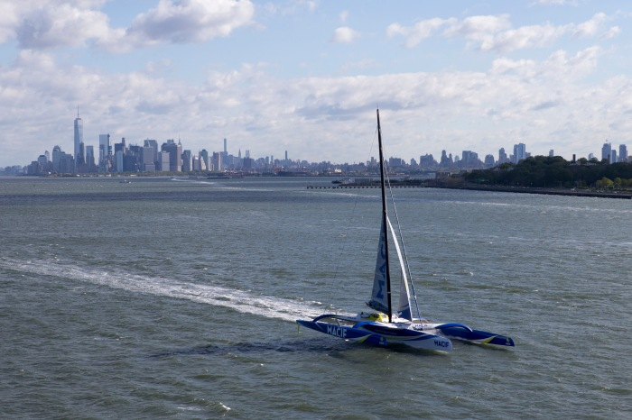 Trimaran Ultime Macif - Skipper : Francois Gabart - Tentative de record de la traversee de l Atlantique Nord entre New York (USA) et le Cap Lizard (ENG) - New York le 16/05/2016