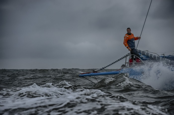 June 19, 2015. Arrivals to the Pitstop in The Hague during Leg 9 to Gothenburg. Team Vestas Wind dutch crew member Simeon Tienpont.