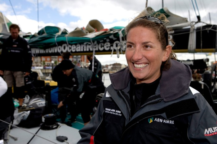 Round the world sailor, Dee Caffari, sails aboard ABN AMRO ONE for the Volvo Ocean Race In Port race in Portsmouth. ABN AMRO ONE won, Pirates of the Caribbean came second and Brasil1 came third. © Oskar Kihlborg/ Volvo Ocean Race For further images go to http://images.volvooceanrace.org