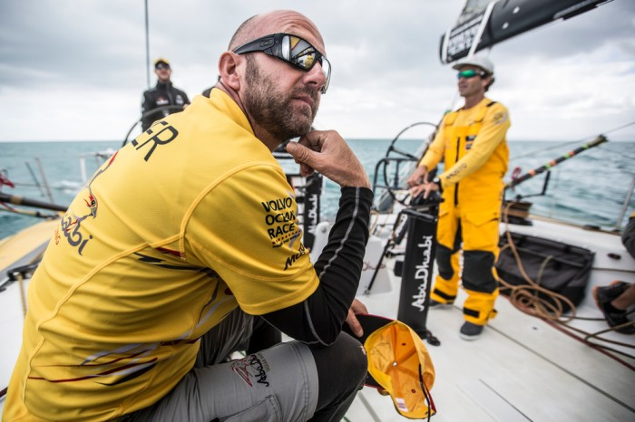 March, 2015. Leg 5 to Itajai onboard Abu Dhabi Ocean Racing. Day 01. Ian Walker trying to solve the riddle of why the team was bleeding miles in the afternoon entering the Bay of Plenty.