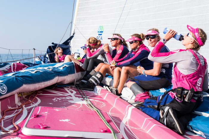 obieca_zaloga_team_sca_fot_anna-lena-elledteam-scavolvo-ocean-race.jpgMay 17, 2015. Leg 7 to Lisbon onboard Team SCA. Day 00. Light winds. The crew takes a break on the foredeck between the tacks.