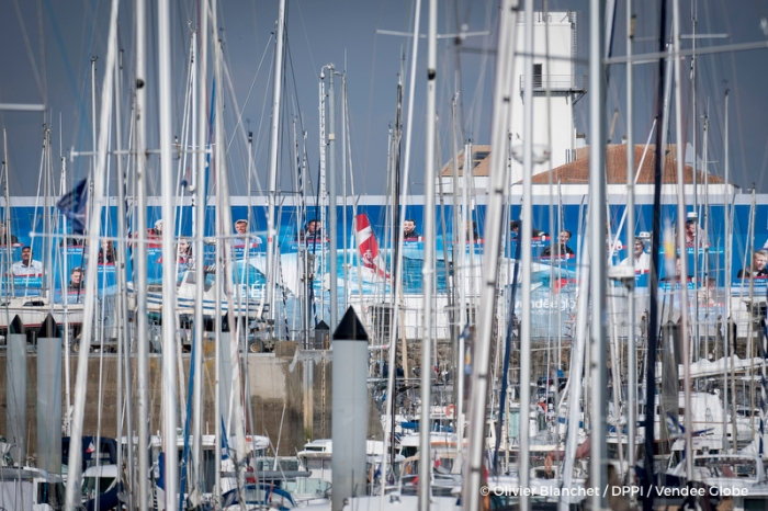 Illustration of the CG85 area of the Vendee Globe 2016 with masts at foreground in Les Sables d'Olonne, France, on october 4, 2016 - Photo Olivier Blanchet / DPPI / Vendee Globe -
