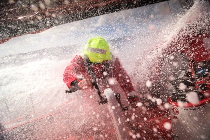March 19, 2015. Leg 5 to Itajai onboard Dongfeng Race Team. Day 2. Charles Caudrelier grinding
