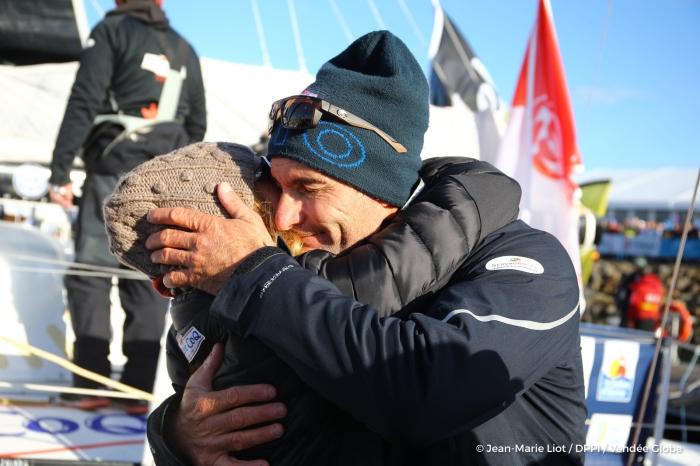 Morgan Lagraviere (FRA), skipper Safran, Start of the Vendee Globe, in Les Sables d'Olonne, France, on November 6th, 2016 - Photo Jean-Marie Liot / DPPI / Vendee Globe Morgan Lagraviere (FRA), skipper Safran, Départ du Vendée Globe, aux Sables d'Olonne le 6 Novembre 2016 - Photo Jean-Marie Liot / DPPI / Vendee Globe