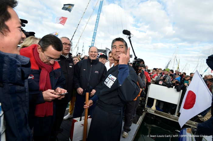 Kojiro Shiraishi (JAP), skipper Spirit of Yukoh,, Start of the Vendee Globe, in Les Sables d'Olonne, France, on November 6th, 2016 - Photo Jean-Louis Carli / AFP / DPPI / Vendee Globe Kojiro Shiraishi (JAP), skipper Spirit of Yukoh, Départ du Vendée Globe, aux Sables d'Olonne le 6 Novembre 2016 - Photo Jean-Louis Carli / AFP / DPPI / Vendee Globe