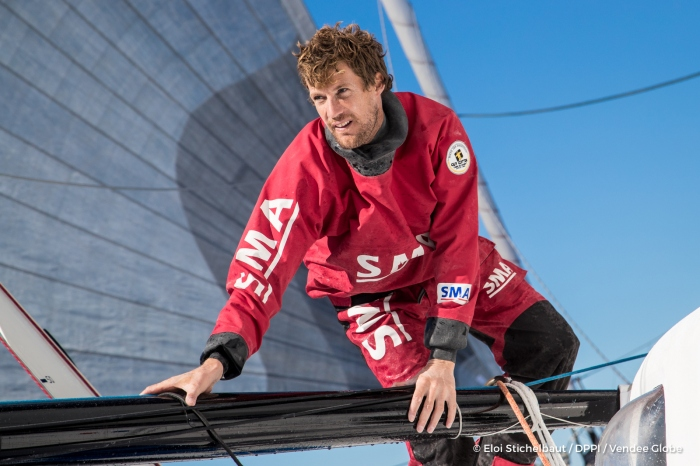 Paul Meilhat (FRA), skipper SMA, before the start of the Vendée Globe 2016, start november 6th 2016, training off Port La Foret on october 6, 2016 - Photo Eloi Stichelbaut / DPPI / Vendee Globe