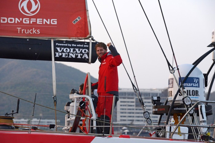 January 27, 2015. Dongfeng Race Team arrives to Sanya in first position, leader of Leg 3 after 23 days of sailing. Charles Caudrelier celebrates the victory.