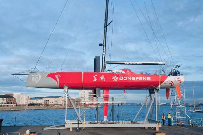 Team Dongfeng's new Volvo Ocean 65 is transported from Green Marine to Southampton docks for structural test.