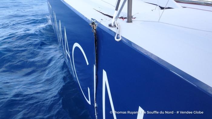 Photo sent from the boat Le Souffle du Nord, on December 19th, 2016 - Photo Thomas Ruyant Photo envoyée depuis le bateau Le Souffle du Nord le 19 Décembre 2016 - Photo Thomas Ruyant OFNI 2