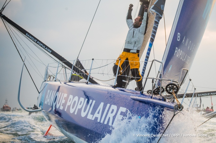 Finish arrival of Armel Le Cleac'h (FRA), skipper Banque Populaire VIII, winner of the sailing circumnavigation solo race Vendee Globe, in 74d 3h 35min 46sec, in Les Sables d'Olonne, France, on January 19th, 2017 - Photo Vincent Curutchet / DPPI / Vendee Globe Arrivée de Armel Le Cleac'h (FRA), skipper Banque Populaire VIII, vainqueur du Vendee Globe en 74j 3h 35min 46sec, aux Sables d'Olonne, France, le 19 Janvier 2017 - Photo Vincent Curutchet / DPPI / Vendee Globe