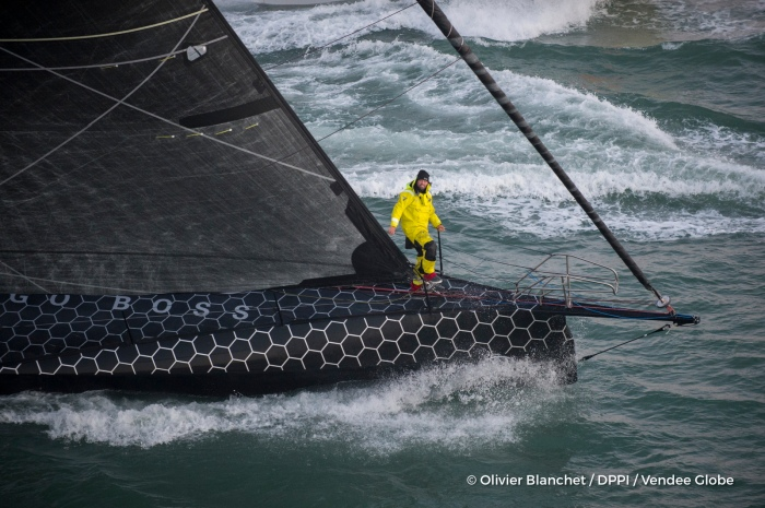Finish arrival of Alex Thomson (GBR), skipper Hugo Boss, 2nd place of the sailing circumnavigation solo race Vendee Globe, in Les Sables d'Olonne, France, on January 20th, 2017 - Photo Olivier Blanchet / DPPI / Vendee Globe Arrivée de Alex Thomson (GBR), skipper Hugo Boss, deuxième du Vendee Globe, aux Sables d'Olonne, France, le 20 Janvier 2017 - Photo Olivier Blanchet / DPPI / Vendee Globe