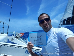 Photo sent from the boat Banque Populaire VIII, on January 1st, 2017 - Photo Armel Le Cleac'h  Photo envoyée depuis le bateau Banque Populaire VIII le 1er Janvier 2017 - Photo Armel Le Cleac'h