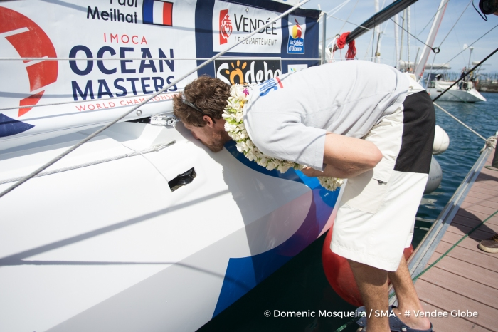 Paul Meilhat (FRA), skipper SMA, arriving in Tahiti, French territories, to repair his boat, after his keel had a problem and obliged him to retire from the Vendee Globe, solo circumnavigation sailing race, on December 29th, 2016 - Photo Domenic Mosqueira / SMA
