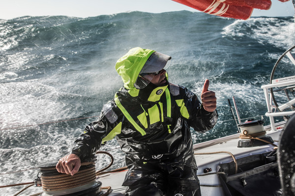 Leg 3, Cape Town to Melbourne, day 01,  on board Dongfeng. Photo by Martin Keruzore/Volvo Ocean Race. 10 December, 2017. Windy and bumpy condition for this begining of leg 3