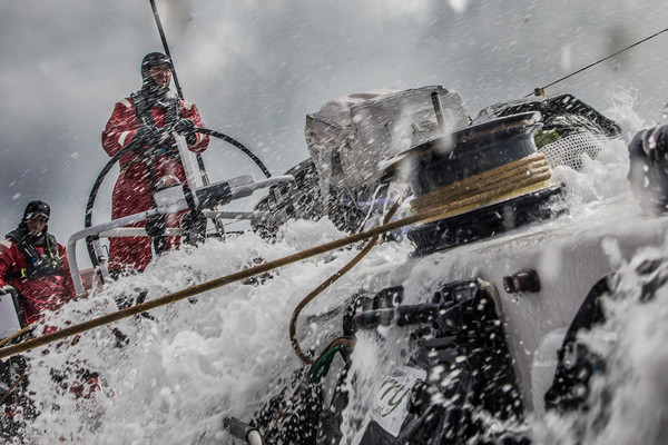 Leg 3, Cape Town to Melbourne, day 14, Christmas Eve with John Fisher on the wheel and Tom Clout on the mainsheet on board Sun Hung Kai/Scallywag. Photo by Konrad Frost/Volvo Ocean Race. 24 December, 2017