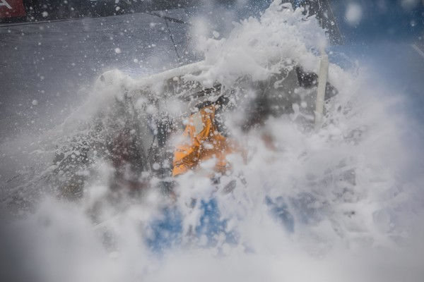 Leg 4, Melbourne to Hong Kong, Day 13 onboard Turn the Tide on Plastic. Walls of water hit the deck as we storm west making progress to Hong Kong. Photo by Brian Carlin/Volvo Ocean Race. 14 January, 2018.