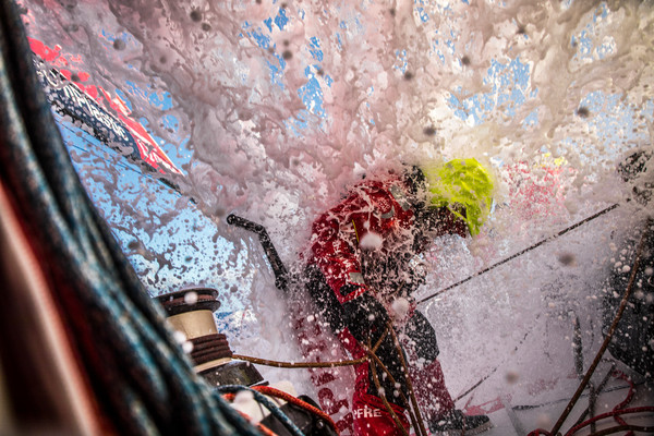Leg 7 from Auckland to Itajai, day 06 on board MAPFRE, Tamara Echegoyen being hitted by a wave. 23 March, 2018.
