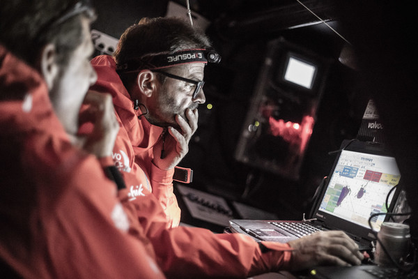 Leg 10, from Cardiff to Gothenburg, day 02 on board Dongfeng. Pascal Bidegorry and Charles Caudrelier at the chart table. 11 June, 2018.