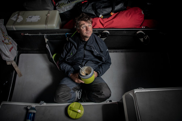 Leg 10, from Cardiff to Gothenburg, day 2 on board Sun Hung Kai/Scallywag. David Witt having his dinner. 11 June, 2018.